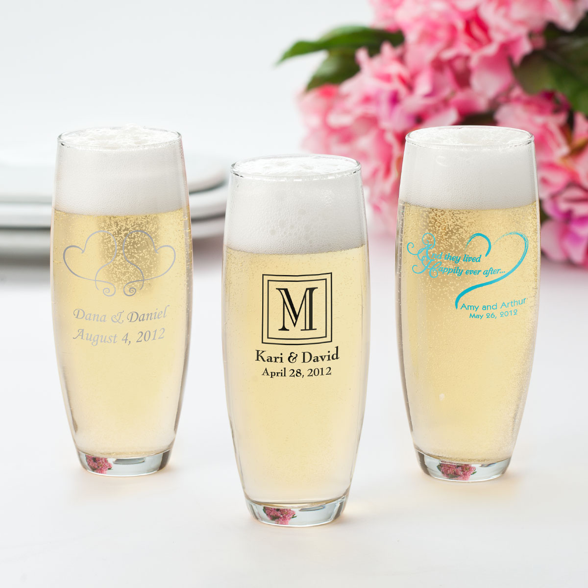 personalized anniversary favor glasses