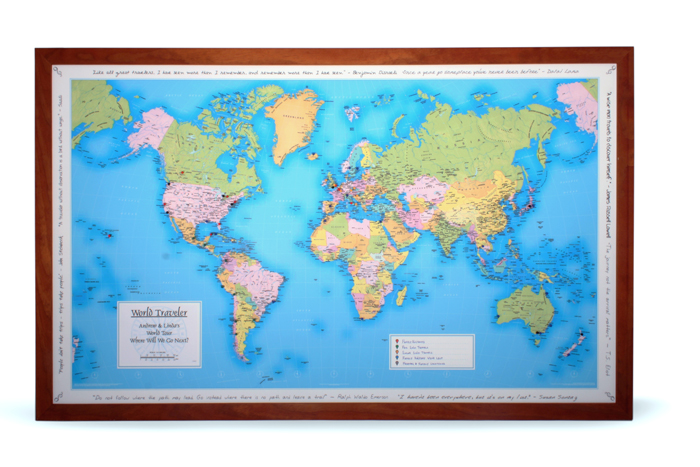 personalized 5th anniversary world travel map gift