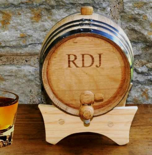 personalized wooden whisky barrel