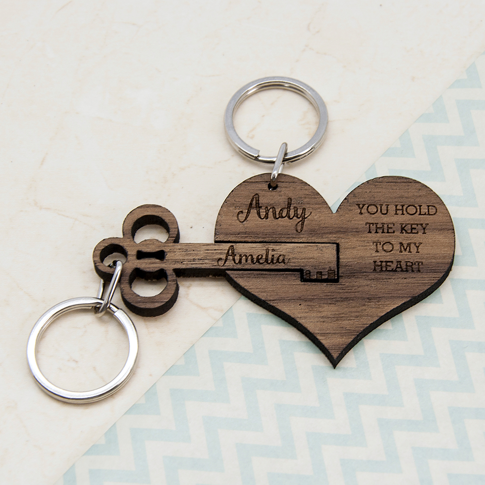 personalized couples' wooden keyring