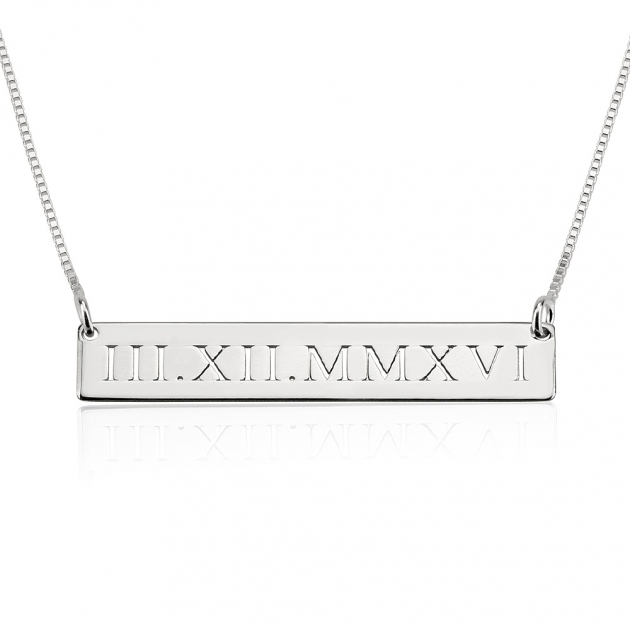 personalized silver anniversary date necklace
