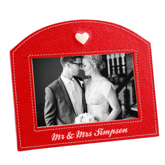 personalized leather anniversary frame