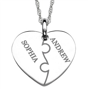 silver personalized heart pendant