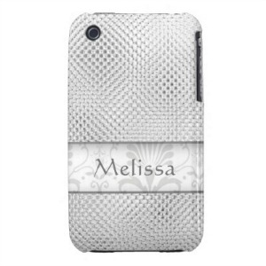 silver personalized iPhone case