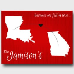Personalized Couples State Canvas