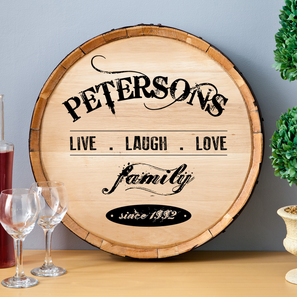 personalized wine barrel