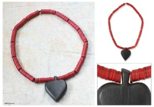 handcrafted wooden heart necklace
