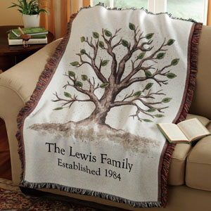 anniversary family tree throw