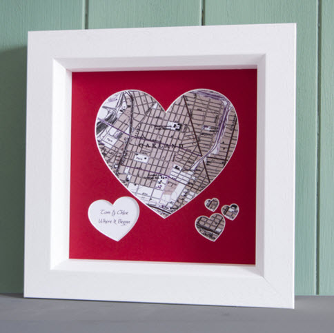 40th anniversary frame heart map