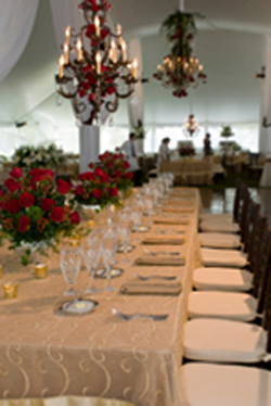 gold tables for a 50th anniversary party