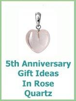 rose quartz 5 year wedding anniversary gift ideas