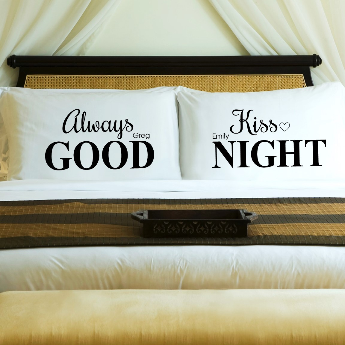 traditional 2nd anniversary gift - always kiss me goodnight pillowcases
