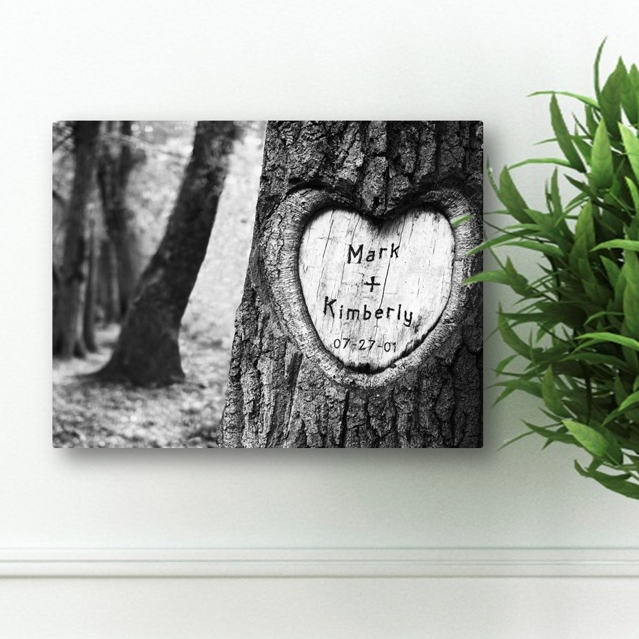 personalized couples love tree canvas