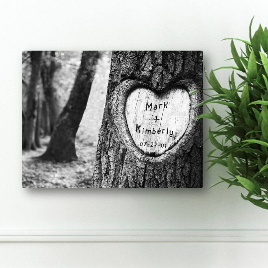 personalized anniversary wooden heart