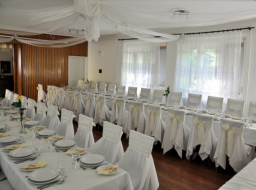room decorated for a 50th wedding anniversary reception