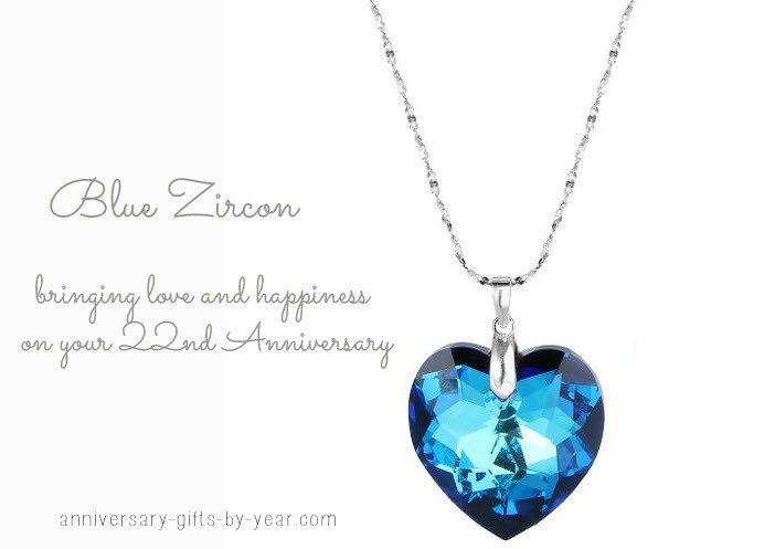 22nd anniversary gift - blue zircon