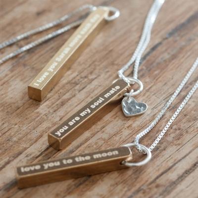 customized brass bar necklace