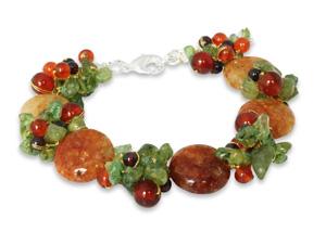 carb=nelian and peridot bracelt