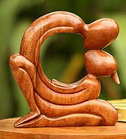 wooden 5th anniversary sculpture