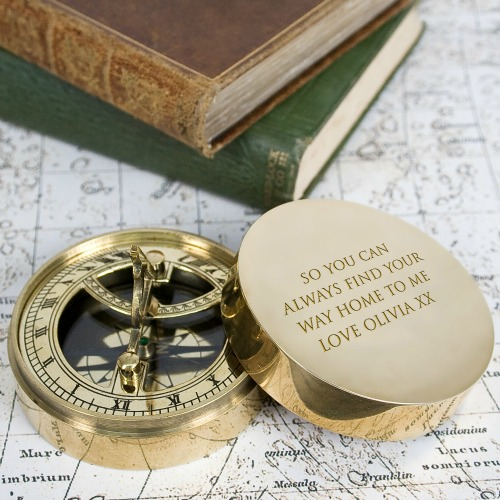engraved Anniversary gift, a compass with an Oscar Wilde quote on marriage