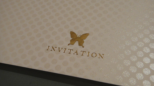 gold butterfly anniversary invitation