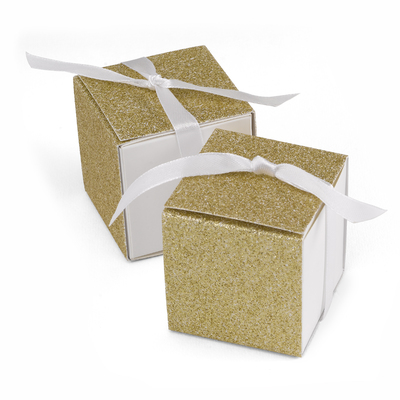 gold glitter 50th anniversary favor boxes