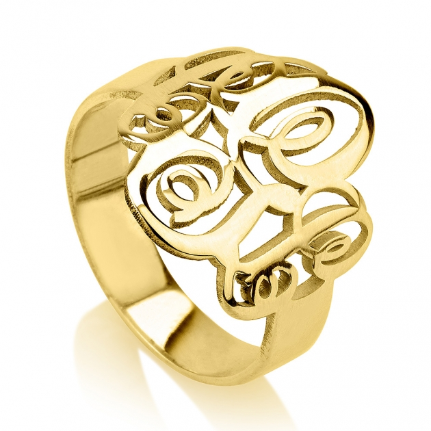 gold monogram anniversary ring