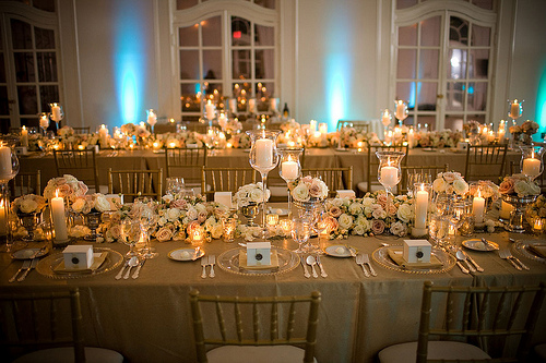 gold anniversary party tables