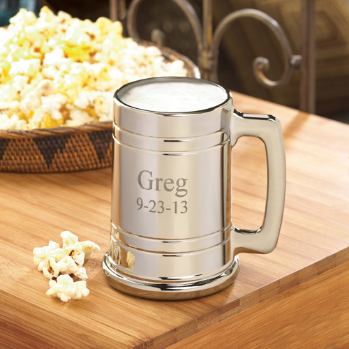 engraved silver beer mug