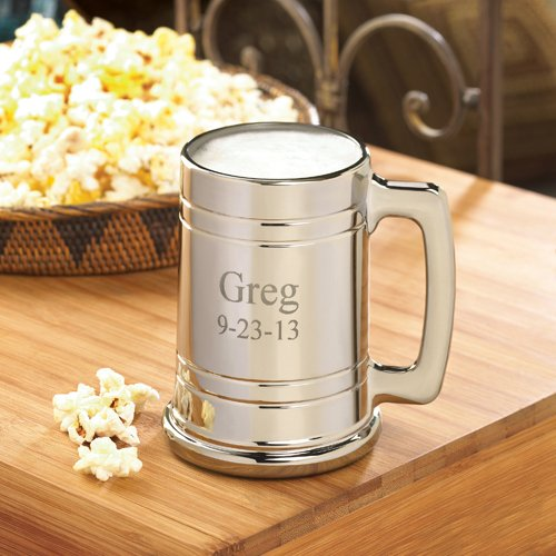 engraved metal beer mug