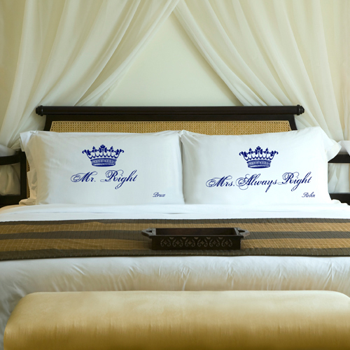 mr right and mrs always right pillowcases