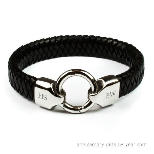 personalized men's leather infinity bracelet