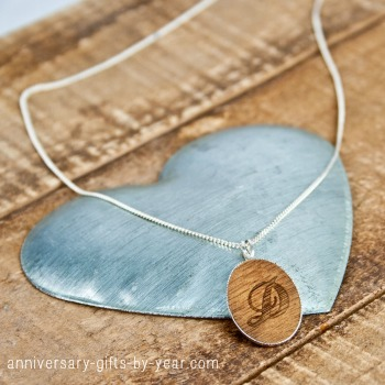 silver & wooden anniversary necklace