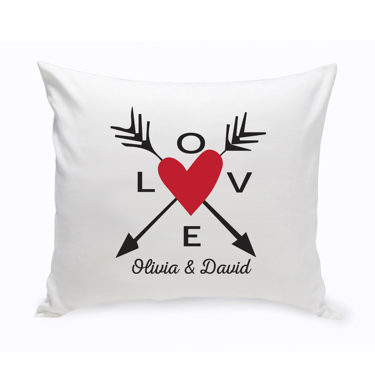 personalized love heart and arrows pillow
