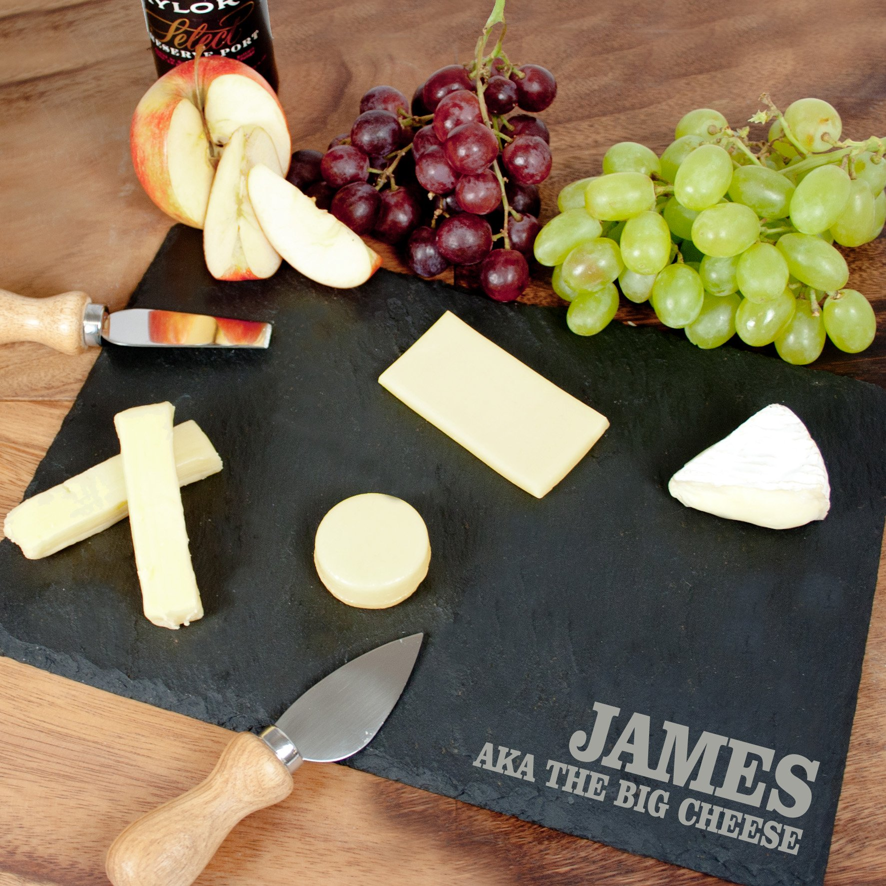 personalized anniversary cheeseboard in slate