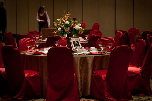 red chairs for a 40th anniversary party