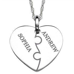 silver personalized heart pendant