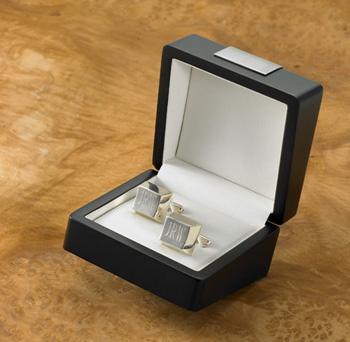 silver initial cufflinks