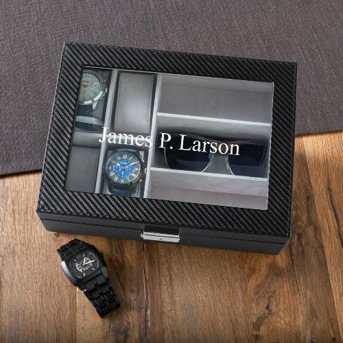 personalized leather anniversary watch box