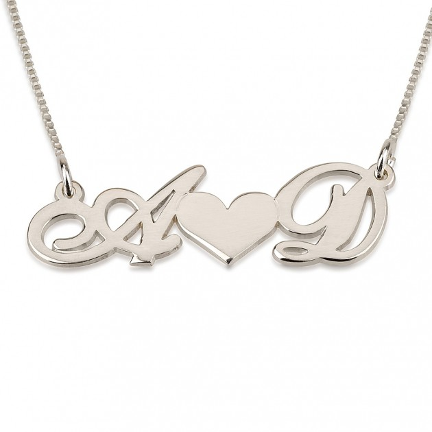 white gold initial and heart necklace